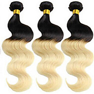 3Pcs/Lot Brazilian Virgin Hair Body Wave Ombre Hair Extensions Two Tone Color 1B 613 Honey Blonde Ombre Hair Bundles