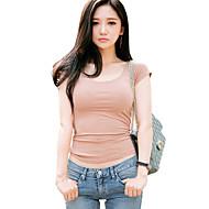 Mulheres Camiseta Casual Sensual / Moda de Rua Verão,Sólido Rosa / Preto Algodão / Raiom Decote Redondo Manga Curta Fina