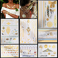 7pcs kulta Silver väliaikainen tatuointi seksikäs naisten kaulakoru ketju koruja toteemi väliaikainen tatuointi tarroja tyylikäs