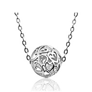 Shamballa Jewelry Female Models Real Silver Round Ball Hollow Heart Beads Pendant Link Chain Necklaces Women