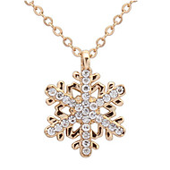 Fashion Gold Rhinestone Snowflake Pendant Long Chian Necklace Sweater Chain Necklace Pendant