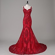 Formal Evening Dress Trumpet / Mermaid Jewel Court Train Satin / Tulle with Appliques