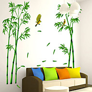 Wall Stickers Wall Decals, 2 Pcs Green Bamboo PVC Wall Sticker