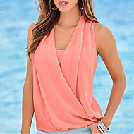 Women's Casual/Daily Simple / Cute Summer Blouse,Solid V Neck Sleeveless Pink / White / Green Polyester Thin