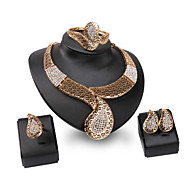 XIXI Women Party / Casual Gold Plated / Alloy / Gemstone & Crystal / Necklace / Earrings / Bracelet Jewelry Set