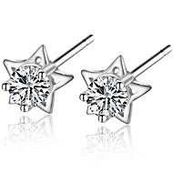 2016 Trendy Real 925 Silver Full Rhinestone Star Earrings Round Zircon Ear Stud For Women Wedding Jewelry Christmas Gift