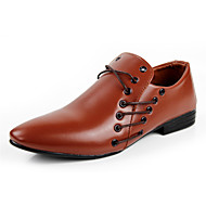 Men's Spring / Summer / Fall / Winter Comfort Leatherette Party & Evening / Dress Flat Heel Black / Brown / White