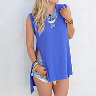 Vrouwen Sexy / Street chic Zomer T-shirt,Casual/Dagelijks Effen Ronde hals Mouwloos Blauw Polyester / Spandex Dun