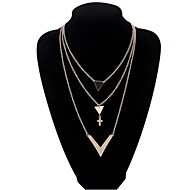 Fashion Punk Style Jewelry V Pandant Long Tassel Necklace Cross Gold Alloy Multi Layer Necklace For Lady Women