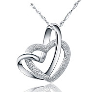 Women Party Dress Wedding Romantic Real Austrian Rhinestone Crystal Double Heart Pendant Necklace 925 Silver Link Chain