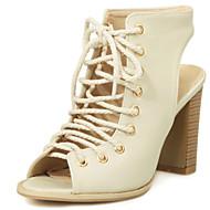 נעלי נשים-סנדלים-דמוי עור-עקבים / רצועה אחורית / פתוח-שחור / בז'-שמלה-עקב עבה