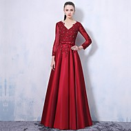 Formal Evening Dress A-line V-neck Floor-length Lace / Satin / Taffeta with Appliques / Beading / Bow(s) / Crystal Detailing