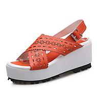 Calçados Femininos-Sandálias-Anabela / Plataforma / Bico Aberto-Plataforma-Azul / Amarelo / Rosa / Laranja-Courino-Social / Casual
