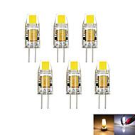 6pcs / lot g4 2w 1cob 100-150 lm szabályozható meleg / hideg fehér mr11 led kétpólusú lámpa dc / ac 12 v