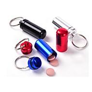 suporte da caixa do recipiente de metal pílula de alumínio pequena à prova de água garrafa de embalagem da medicina chaveiro