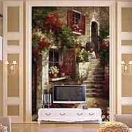 retro 3d shinny Leder Effekt großes Wandtapete Gebäude und Ölgemälde Kunstwanddekor
