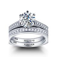 Anéis Zircônia Cubica Prata de Lei Prata de Lei Mulheres / Homens / Casais / Unisexo