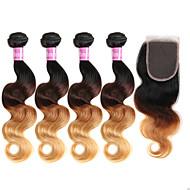 Hårstykke med lukning Brasiliansk hår Krop Bølge 18 Måneder 4 Dele hår vævninger
