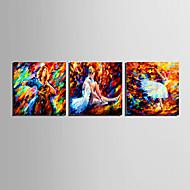 Abstrakti / Ihmiste Canvas Tulosta 3 paneeli Valmis Hang,Neliö
