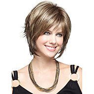 Women 12inch Beige Blonde Tone Straight Side Bang Synthetic Hair Wigs with Free Hair Net