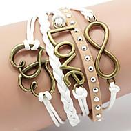 Femme Rivet Bracelets Bracelets en cuir Amour Cœur Inspiration Bijoux initial Multicouches Cuir Forme de Coeur Amour Café Bijoux Pour