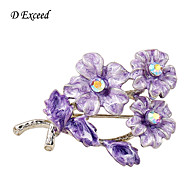 D Exceed Women's Purple Enamel Flower Brooch And Pins Sweater Brooches Chic New Fashion