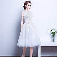 Cocktail Party Dress A-line Scoop Tea-length Lace / Satin with Beading / Lace / Sash / Ribbon