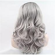 """18 """"-24"""" käsittelemättömät Brasilian neitsyt ihmisen täynnä pitsiä harmaa peruukit liimaton Nyörilliset harmaat hiukset peruukit"""