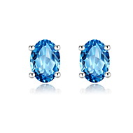 Vintage Amethyst Blue Round Stone Studs Earrings Fashion Crystal Weeding Jewelry for Women 925 Sterling Silver