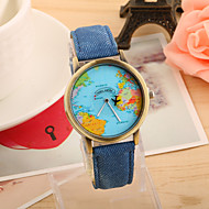 European Style Retro Fashion Denim Hot Map Plane Around the World Wrist Watch Cool Watches Unique Watches