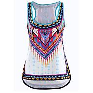 Vrouwen Grote maten / Street chic Singlet,Uitgaan Print U-hals Mouwloos Wit Polyester Dun