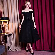 Cocktail Party Dress-Black A-line Off-the-shoulder Tea-length Lace