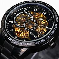 WINNER Heren Skeleton horloge Polshorloge mechanische horloges Automatisch opwindmechanismeWaterbestendig Hol Gegraveerd tachymeter