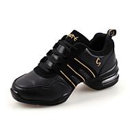 Scarpe da ballo-Non personalizzabile-Da donna-Sneakers da danza moderna-Quadrato-Di pelle-Nero / Rosso / Grigio