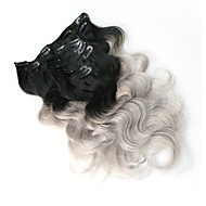 8A 100% Remy Ombre Gray Clip In Human Hair Extensions Brazilian Virgin Hair Clip In Extension Body Wave
