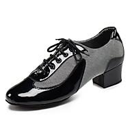 Sapatos de Dança(Preto / Vermelho / Prateado) -Masculino-Personalizável-Latina / Jazz