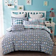 100% algodão sarja xadrez 3 pcs conjunto de folhas de cama de solteiro ou queen size