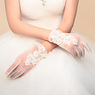 Wrist Length Fingertips Glove Nylon Bridal Gloves Party/ Evening Gloves Spring Fall Winter Appliques