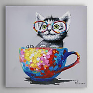 Hand Painted Oil Painting Animal Sat In The Cup with Stretched Frame 7 Wall Arts®