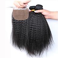 Волосы Уток с закрытием Перуанские волосы 12 месяцев 4 предмета волосы ткет