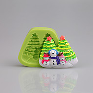 Xmas Cake Decorating Tools Snowman Christmas Fondant Silicone Mold for Cupcake Candy Chocolate Soap Clay Fimo Resin