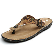 Men's Shoes Outdoor / Work & Duty / Casual Nappa Leather Sandals Black / Brown / Yellow / Red / Animal Print