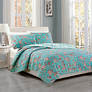"3PC Quilt Sets Full Cotton Euro Floral Pattern 92""W*106""L"
