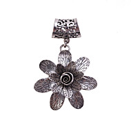 Antique Silver Flower Brooch Scarf  Buckle Jewelry Accessories Scarf Ring For Lady