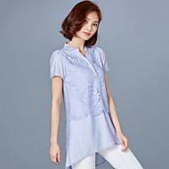 Women's Patchwork Blue / Pink / Gray Blouse,V Neck Short Sleeve