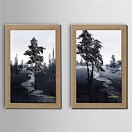Peint à la main Paysages Abstraits Peintures à l'huile,Modern Deux Panneaux Toile Peinture à l'huile Hang-peint For Décoration d'intérieur