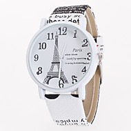 Women's European Style Hot Fashion Printing Eiffel Tower  Leather Quartz Wrist Watch