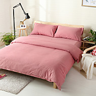Pink Washed Cotton Bedding Sets Queen King Size Bedlinens 4pcs Duvet Cover Set