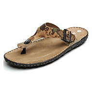 Men's Shoes Outdoor / Office & Career / Work & Duty / Athletic / Dress / Casual Nappa Leather Flip-Flops Brown