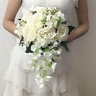 """Bouquets de Noiva Cascata Peônias Buquês Casamento / Festa / noite Branco Cetim 9.84""""(Aprox.25cm)"""